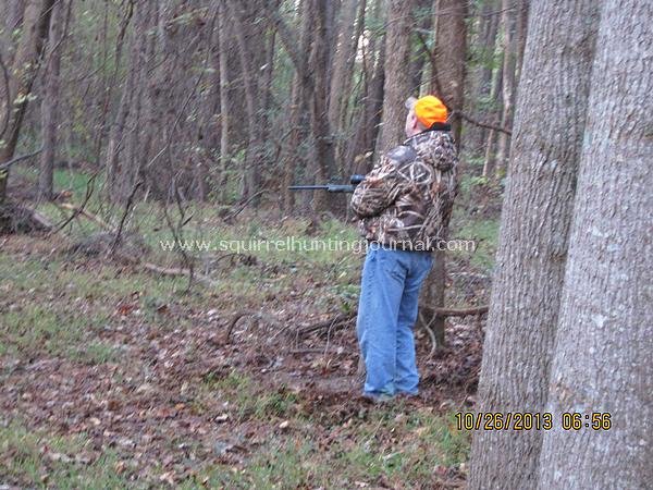 Brad waiting on a squirrel